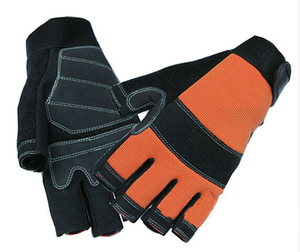 Fingerless Auto Mechanic Gloves Synthetic Leather