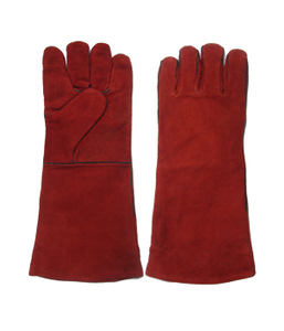 1311 red fully lined cow split leather welding gloves