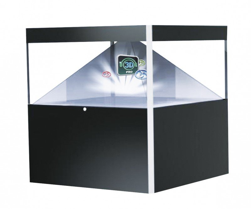 4 Sides 3D Holographic Pyramid Display Showcase Hologram Box For Advertising