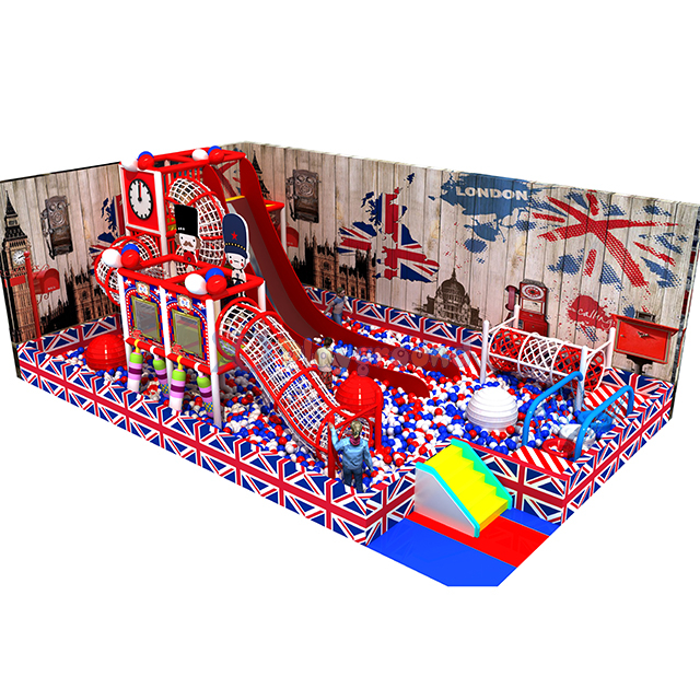 England Themed Amusement Park Kids Indoor Playground with Ball Pit and Slide