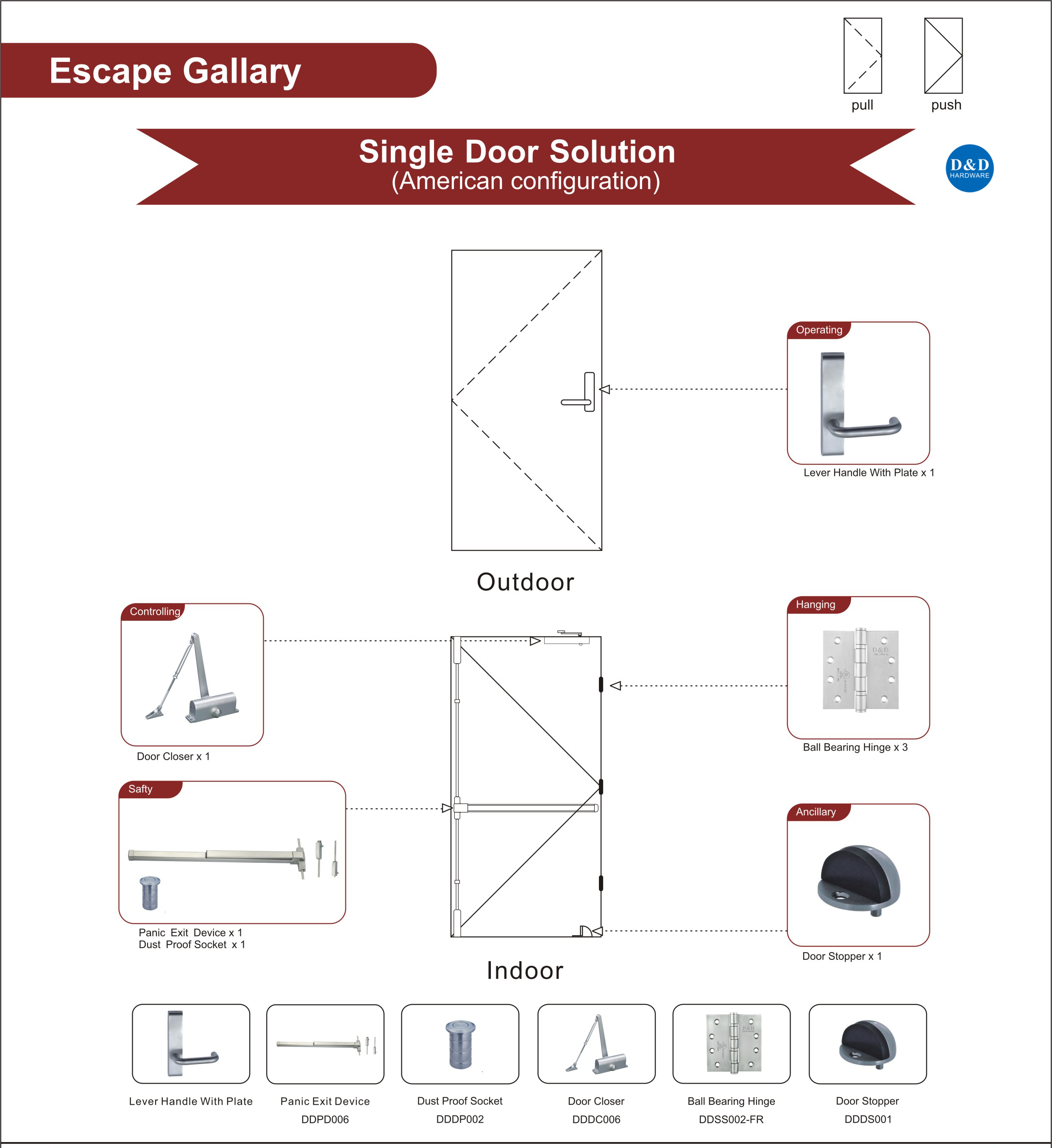 Escape Gallery Single Fire Rated Steel Door Ironmongery for Gymnasium