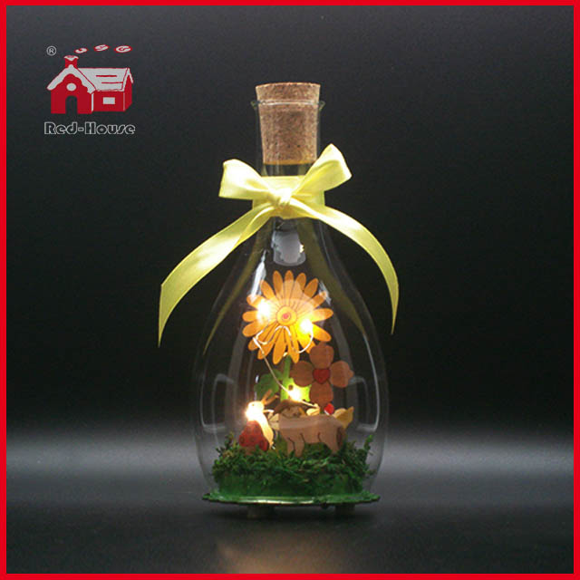 Glass Decoration Easter Decoration LED Glass Bottle Decoration