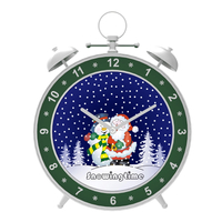 Snowing Plastic alarm clock shaped christmas ornament