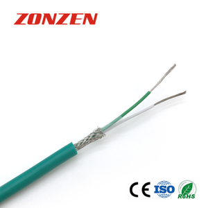 Silicone rubber insulated thermocouple extension wire with stainless steel inner shield--Single pair, round