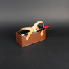 Wine Box Manufacturer Brown PU leather wine glass holder tray