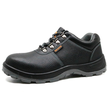 Anti Slip Black Leather Steel Toe Safety Work Shoes for Men