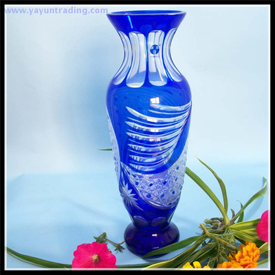 classical red and cobalt blue glass vase for home and garden
