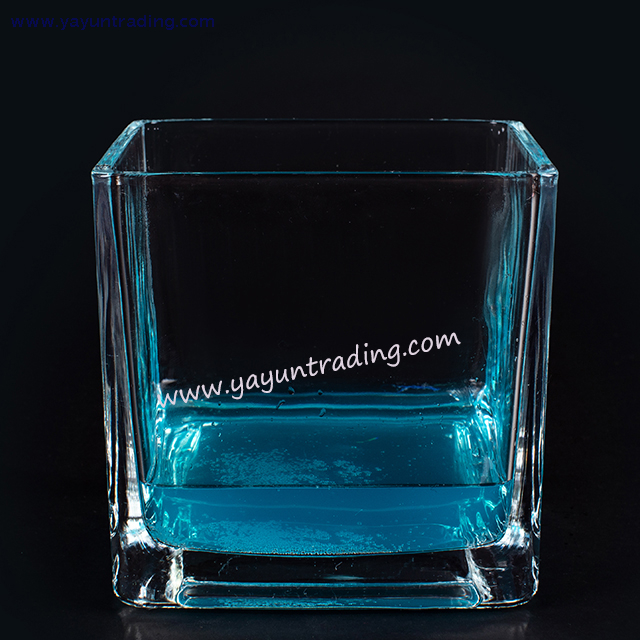 2019 Trendy Exquisite Clear Square Series Glass Candle Jar