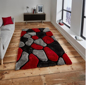 160×230 cm Red Grey 3D Shag Rugs Bedroom Carpet