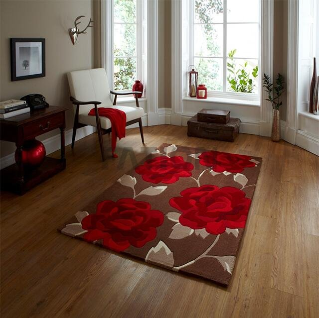 5'×8' Handmade Acrylic Area Rug Flower Design Floor Carpet