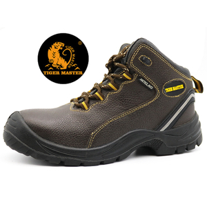 Brown Steel Toe Puncture Proof Leather Lining Industrial Safety Shoes Chile