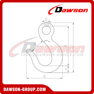 DS502 Forged Alloy Steel Large Opening Eye Hook