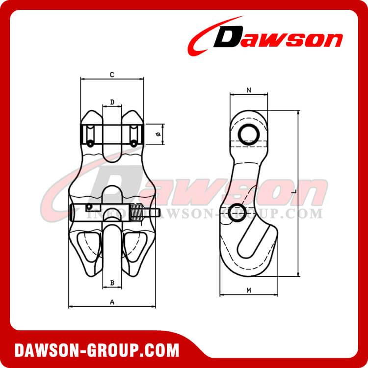 DS1057 G100 Clevis Chain Clutch with Safety Pin for Adjust Chain Length - Dawson Group Ltd. - China Manufacturer