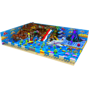 Pirate Ship Themed Gym Soft Kids Indoor Playground Equipment with Ball Pit and Big Slide