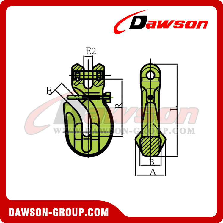 G100 / Grade 100 Special Clevis Grab Hook With Safety Pin for Adjust Chain Length