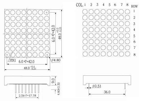 1 9 inch 8x8 led matrix - lm19088c  d series