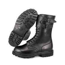 Black police leather tactical boots 6202