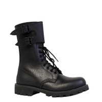 military combat boots embossed leather french style