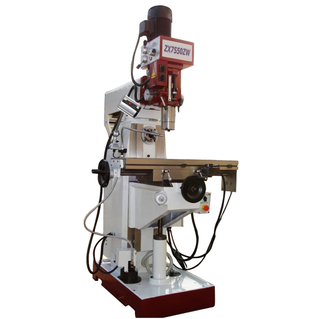 ZX7550ZW 9 1/2'' X39'' Universal Milling Machine with Vertical Milling Head Auto Feeding