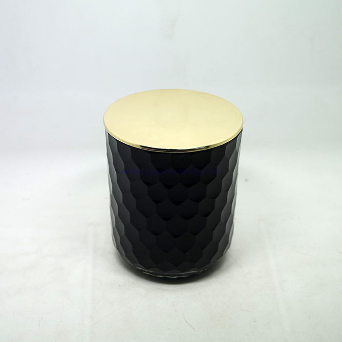 13oz unique fish scale matte black glass candle jar with gold lid