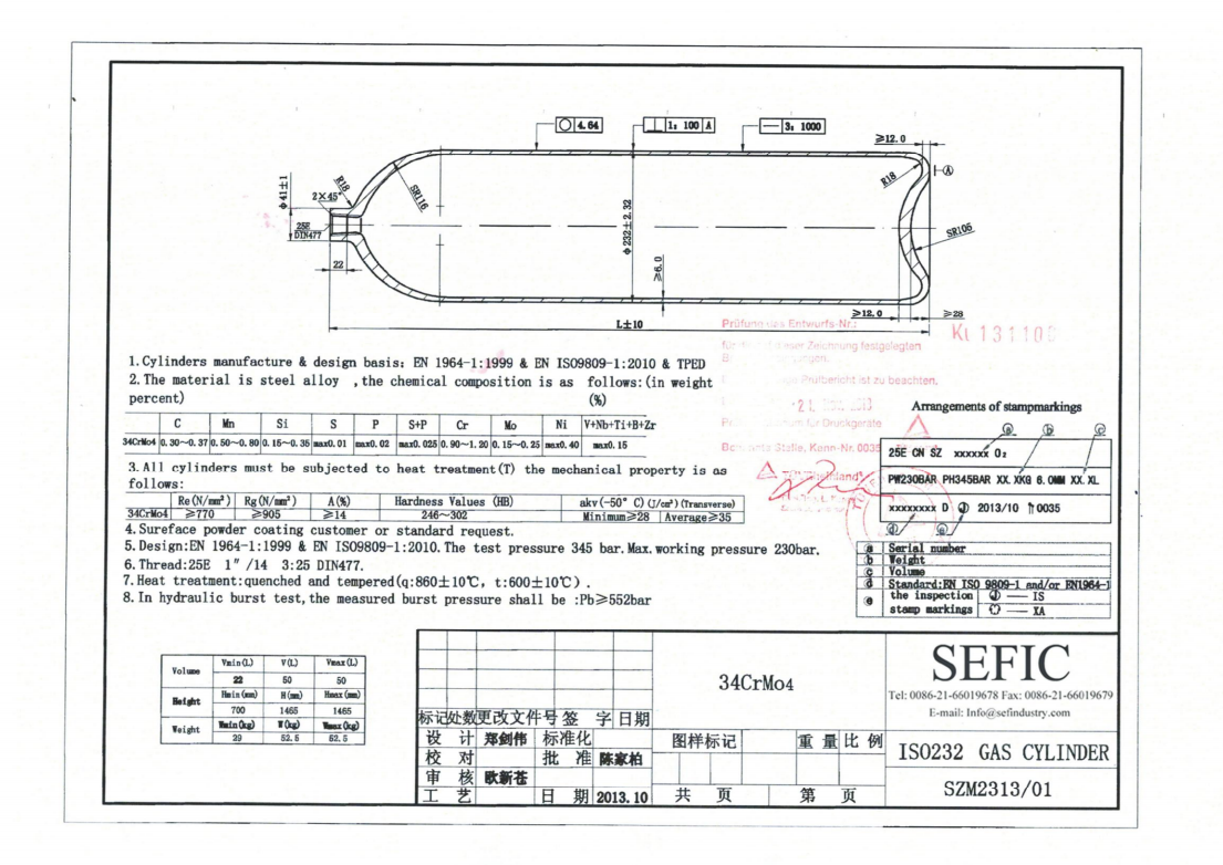 ISO9809-1 standard gas cylinder size chart φ232 50L 200Bar