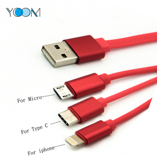 Telescopic Type 3 in 1 USB Charging + Data Cable