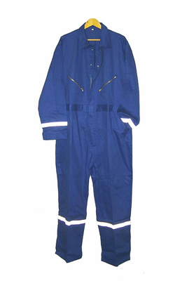 Blue work garments coveralls with reflective tape