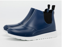 Blue men and women fashionable ankle high rain boots