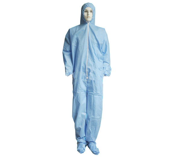 Blue Disposable coverall garments with hood and boot
