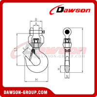 G80 / Grade 80 1Ton Forged Steel Clevis Type Swivel Hook with Latch for Webbing