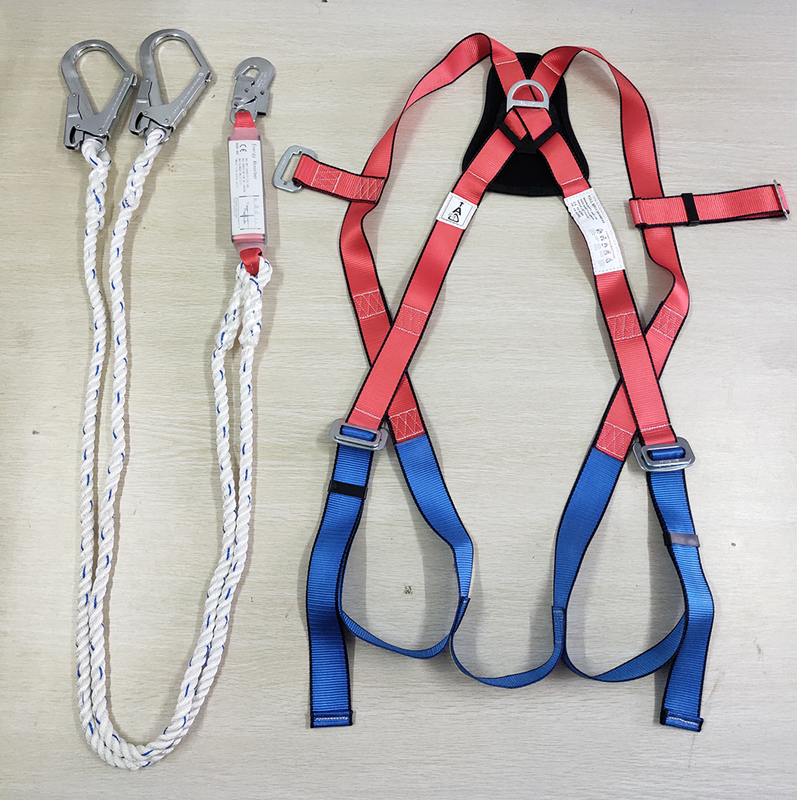 CE EN 361 Polyester Webbing Full Body Harness Safety Belt with Shock Absorber Lanyard