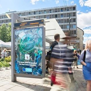 15. A bus shelter panel in Oslo was filled with plastic litter to raise awareness of ocean plastic pollution.