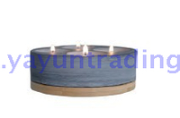 slate candle holder with bamboo tray