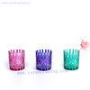 purple blue green metallic colored glass candle holder