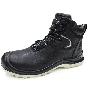 Oil Proof Black Leather PU Rubber Sole Mining Safety Boots Composite Toe