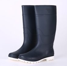 Navy blue white sole cheap rain boots for men