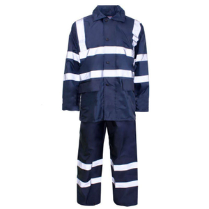 Waterproof navy blue reflective rain suit workwear