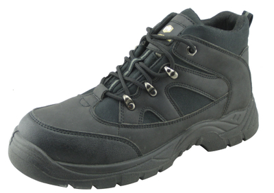 Black steel toe working safety shoes