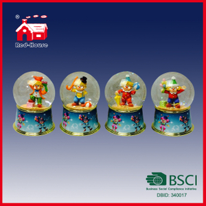 Colorful Resin Base Glass Water Ball with Circus Figures Inside for Birthday Holiday Decoration
