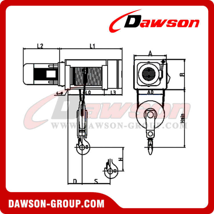 foot-mounted electric wire rope hoist dswhf-b type - dawson group ltd