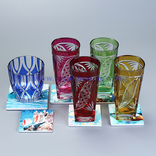 square amber colored engraved glass tumbler