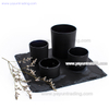 matte black small size glass candle holder and natural slate coaster