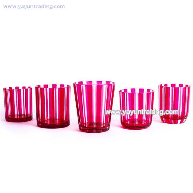 vertical stripes design glass candle container pink glass candle jar with slate coaster