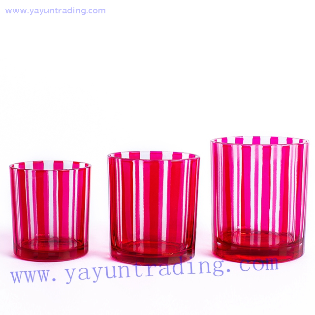 pink hand cut sprayed colored glass candle tumbler