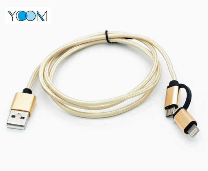 Cable USB 2 en 1 para iPhone y Micro