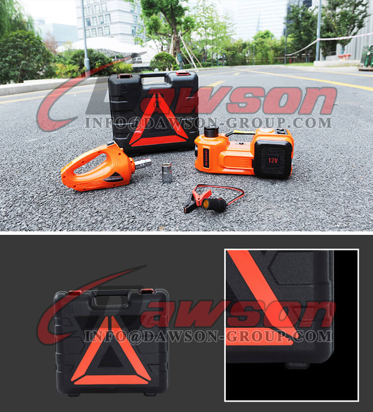 PACKING ABOUT 12V DC 5T MULTI-FUNCTIONAL ELECTRIC HYDRAULIC FLOOR JACK WITH ELECTRIC IMPACT WRENCH - DAWSON GROUP LTD. - CHINA MANUFACTURER, FACTORY