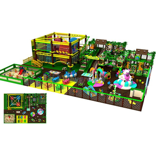 Jungle Themed Adventure Kids Indoor Playground with Rope Course