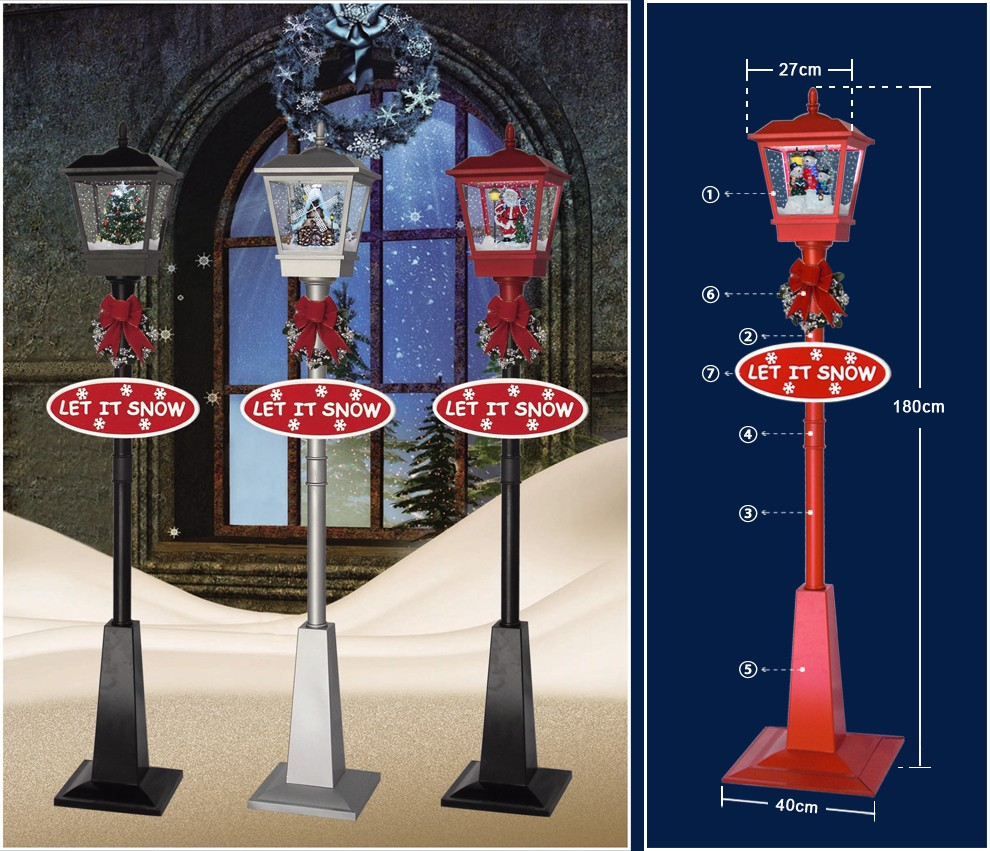 Lv180d Rr Red Snowing Musical Lighting Christmas Street Lamp With Santa Claus From China Manufacturer Nanjing Red House Gifts