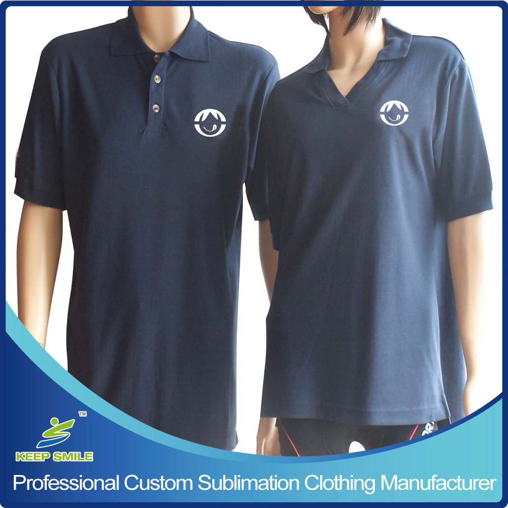 Custom 100% Polyester Uniform Polo Shirts with Emb Logo