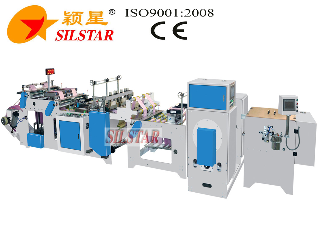 high speed star seal bag maker with labeling machine